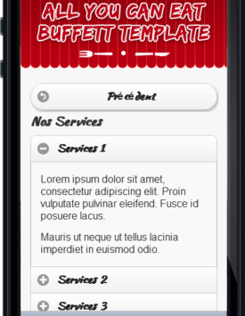 Page services Template Restaurant buffet Mobile