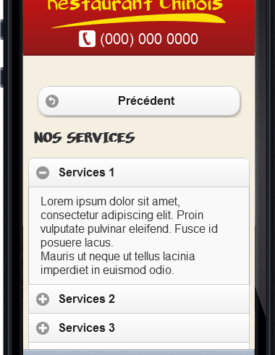Page services Template Restaurant chinois Mobile