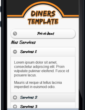 Page services Template Restaurant diner Mobile