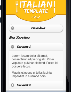 Page services Template Restaurant italien Mobile